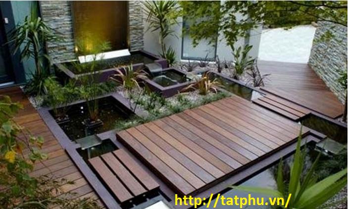 trang trí sân vườn bằng tấm xi măng cemboard