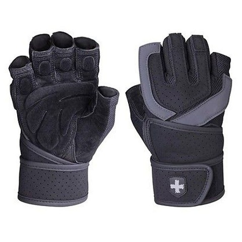 Harbinger Training Grip Wristwrap Weightlifting Gloves, Black/Grey