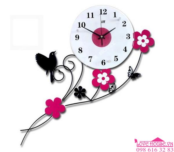 Đồng hồ treo tường bó hoa hồng