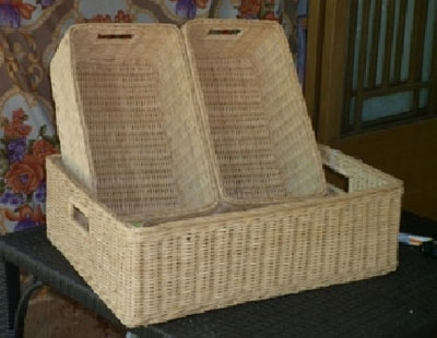 handmade coiled bamboo trays and jars and bins products
