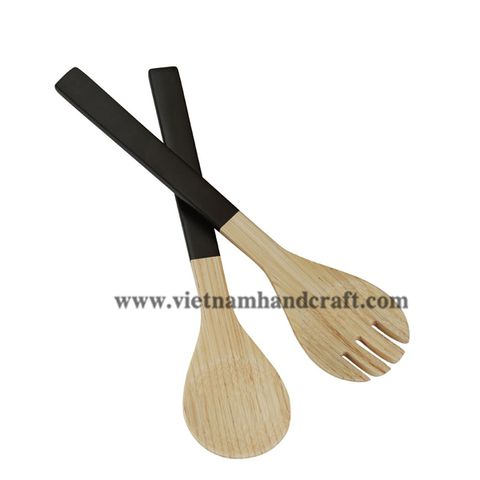 handmade spun bamboo salad servers and spoons and serving tongs products