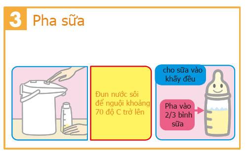 cách pha sữa meiji số 0 cho bé