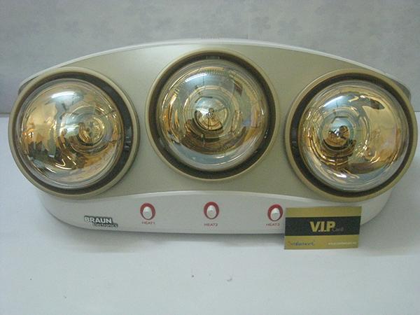 Đèn sưởi nhà tắm Braun KU03G - 3 bóng vàng