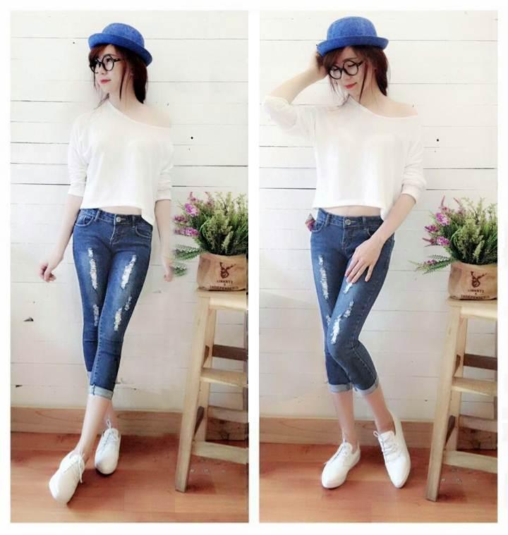 Thật phong cách cùng quần jeans lửng rách