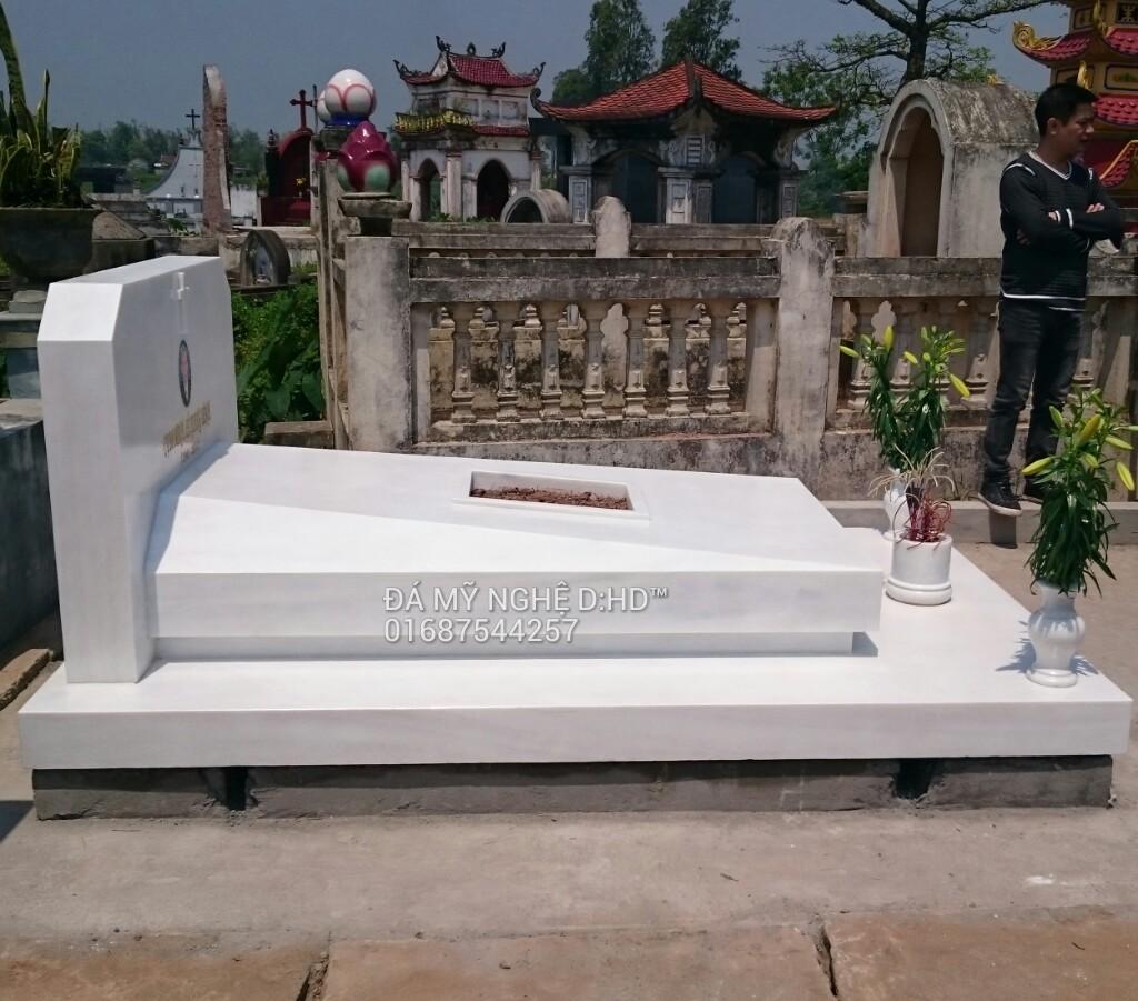 mộ đá khối đá trắng cẩm thạch