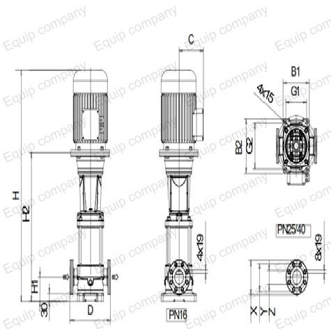 máy bơm nước ly tâm trục đứng đa tầng cánh