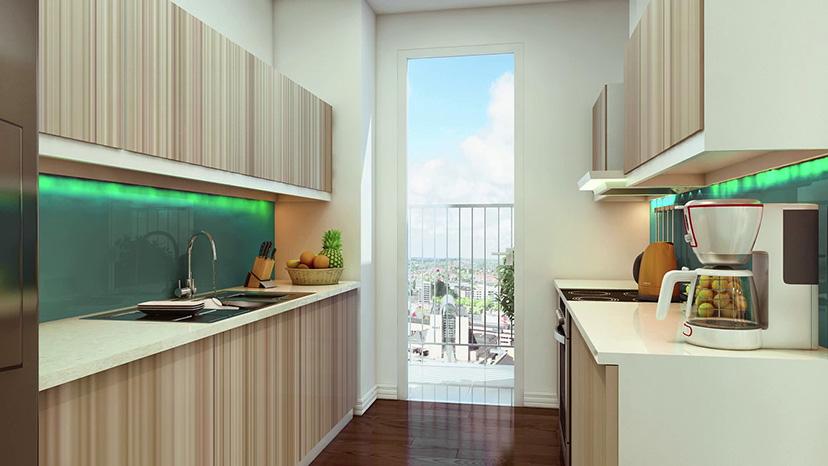 Không gian bếp rộng, thông thoáng với ban công dài