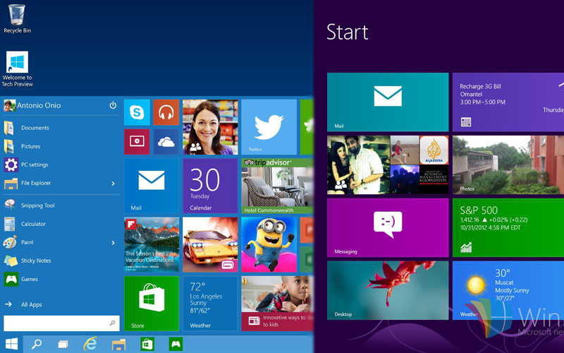so sánh windows 8 và windows 10