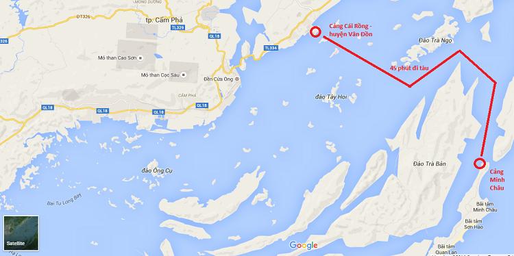 Vị trí đảo Minh Châu huyện Vân Đồn
