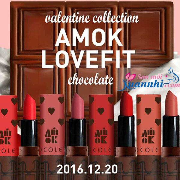 Những Thỏi Son Môi Màu Đỏ Hồng Của Hãng Nào Đẹp - Phù Hợp Với Da Nào Son Amok Lovefit Chocolate Valentine Collection 4 màu tuyệt đẹp