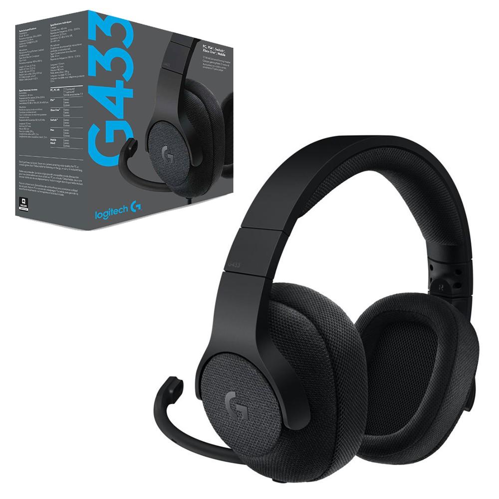 Logitech G433 7.1 Wired Surround Gaming Black