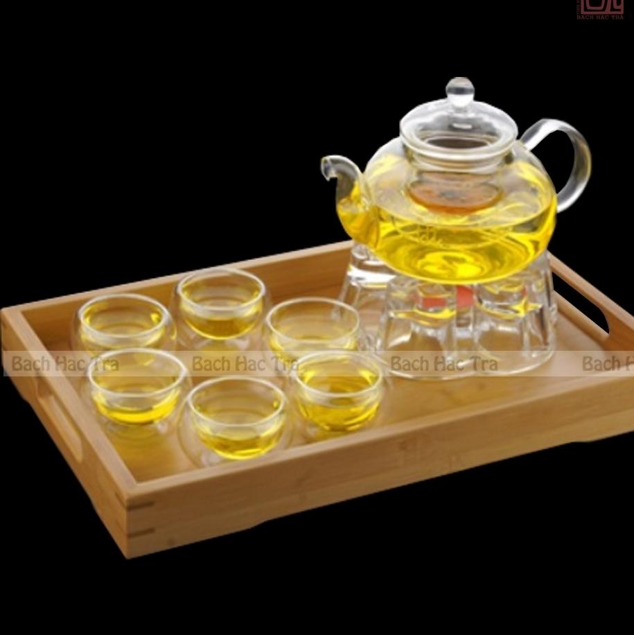 bộ thưởng trà thuỷ tinh bao gồm ấm thuỷ tinh và chén thuỷ tinh hai lớp giữ nhiệt