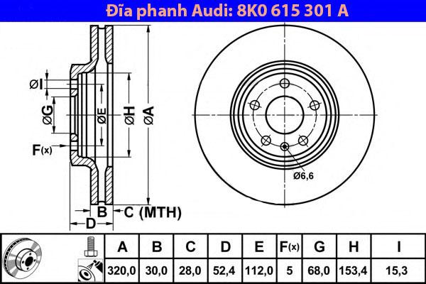 Đĩa phanh trước Audi Q5 A4 A5 chính hãng - 8K0615301A