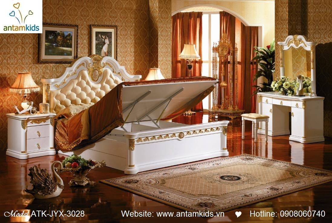 giường ngủ cổ điển ATK-JYX-3028 cao cấp tuyệt đẹp, Noi That Co Dien AnTamKids