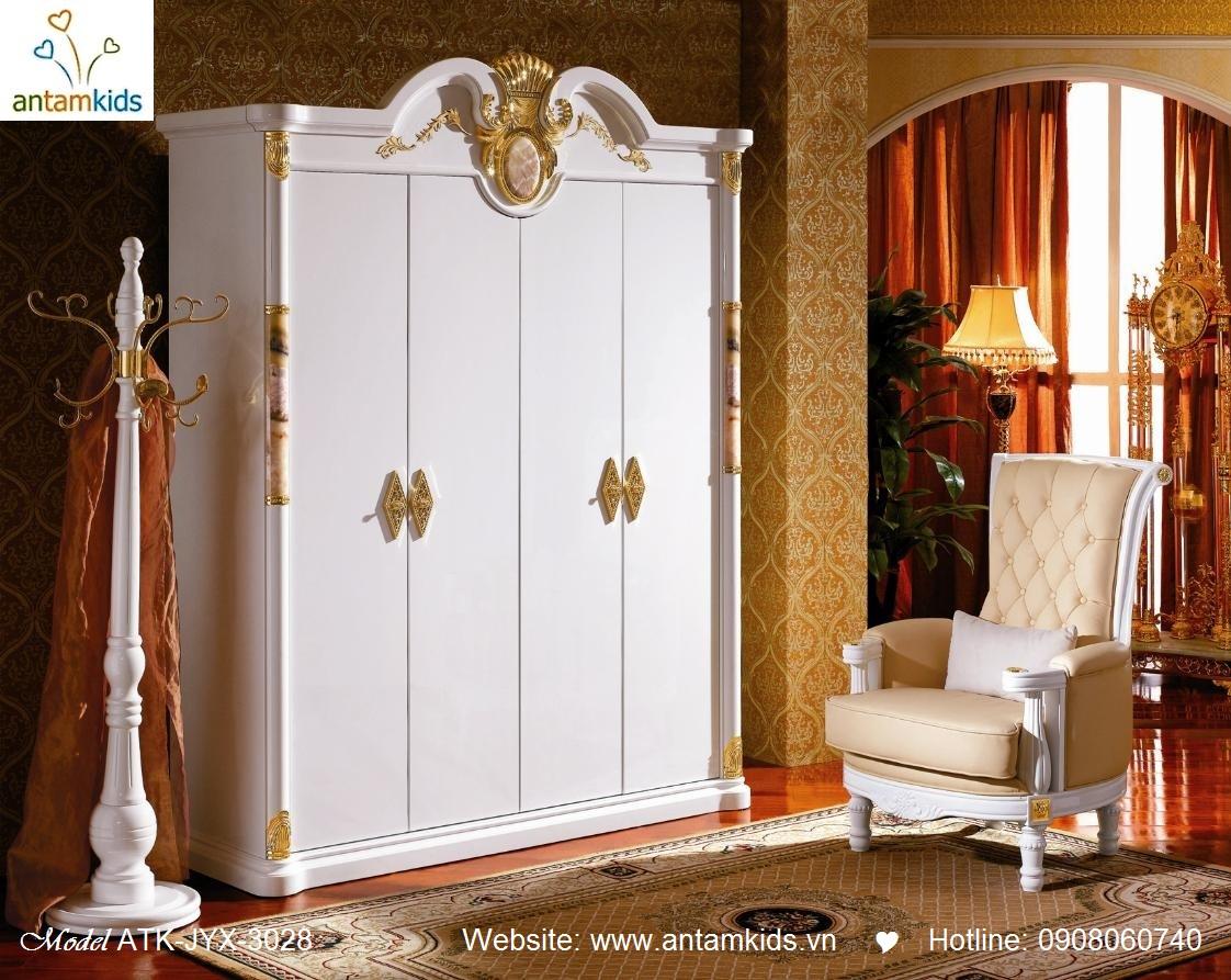 Phòng ngủ cổ điển ATK-JYX-3028 cao cấp tuyệt đẹp, Noi That Co Dien AnTamKids, noi that phong cach co dien phung tay