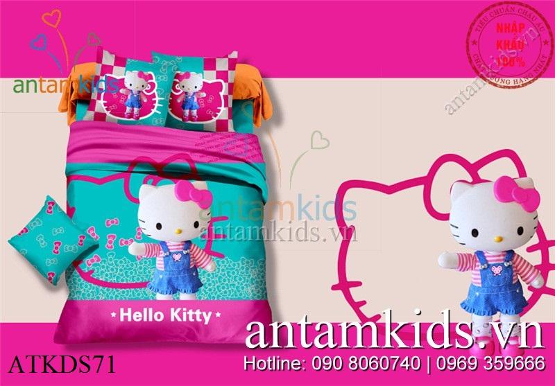 Bộ chăn ga gối Hello Kitty 3D váy xanh xinh yêu cho bé gái, drap mền Hello Kitty