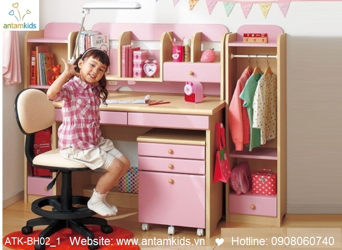 Bàn học trẻ em ATK-BH02 style Nhật Bản giá tốt nhất| Noi That Tre Em AnTamKids.vn, mà hồng