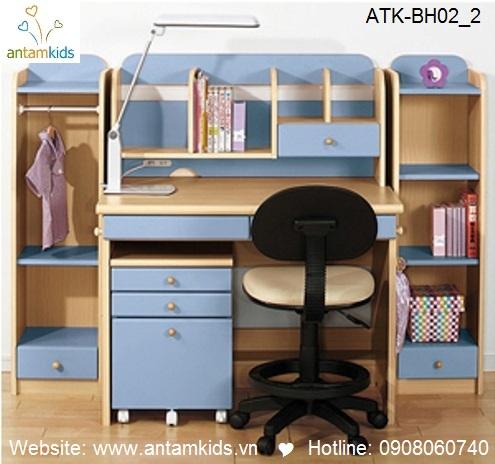 Bàn học trẻ em ATK-BH02 style Nhật Bản giá tốt nhất| Noi That Tre Em AnTamKids.vn, màu xanh