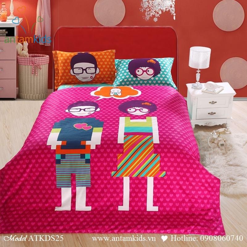 Bộ chăn ga gối cho thanh thieu nien teen hình bé trai bé gái đeo mắt kính, 100% cotton lụa nhập khẩu, mẫu mới nhất 2013    AnTamKids.vn