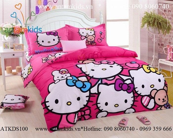 Chăn mền drap Hello Kitty, Chăn ga gối họat hình Hello Kitty cho be gai AnTamKids