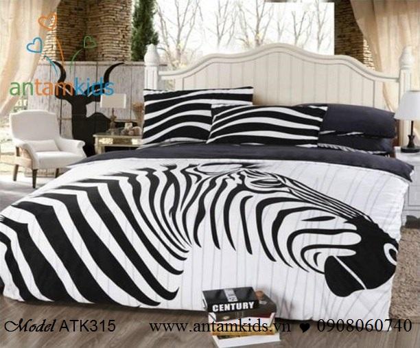 Chăn ga gối Ngựa vằn đen trắng ATK315 đang được các bạn Nam thanh niên cực mê, siêu hót, siêu sang. Lliên hệ Hà Nội Hồ Chí Minh: 0908060740