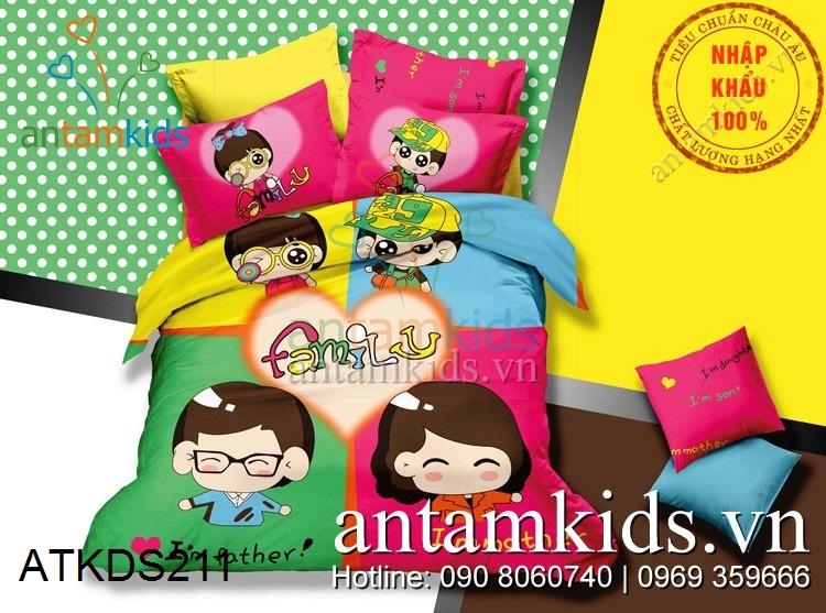 Chăn ga gối Gia đình là tất cả Love Family siêu dễ thương ATKDS211