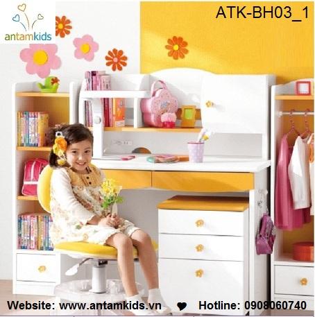 Bàn học trẻ em ATK-BH03 Nhật Bản giá tốt nhất| Noi That Tre Em AnTamKids.vn, màu vàng xinh xắn