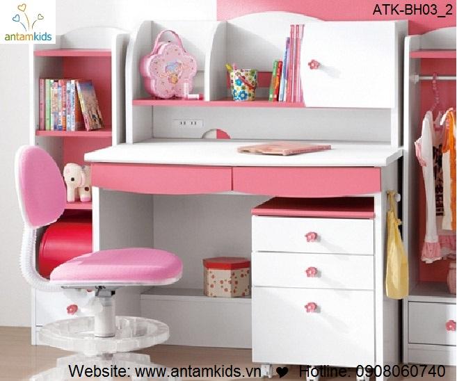 Bàn học trẻ em ATK-BH03 Nhật Bản giá tốt nhất| Noi That Tre Em AnTamKids.vn, màu hồng đáng yêu