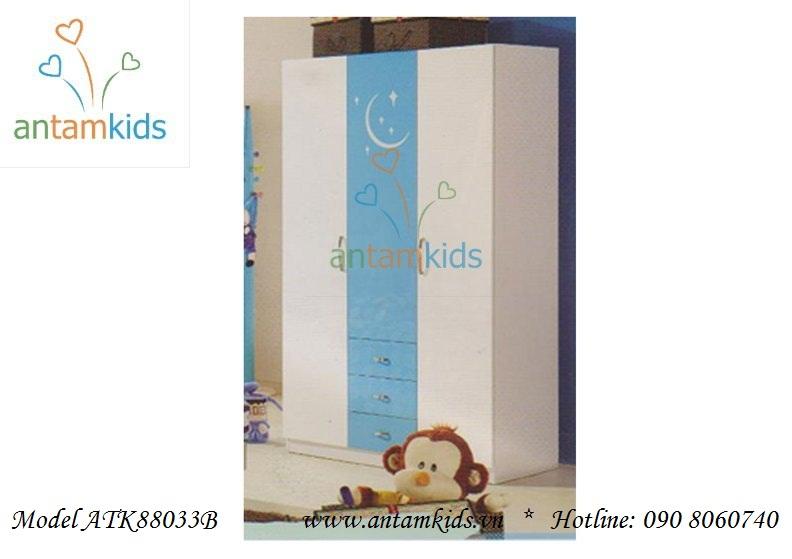 Giường ngủ 3 tầng ATK88033P màu xanh cho bé trai, màu hồng cho bé gái đẹp tuyệt