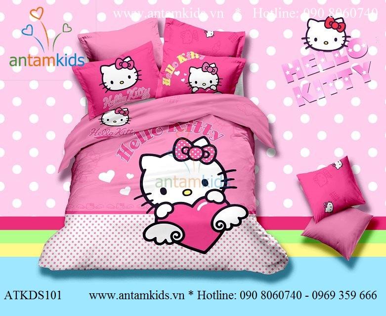 Chăn ga gối Hello Kitty xinh yêu điệu đẹp cho bé gái, drap trải giường hello Kitty