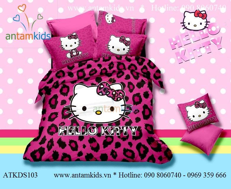 Chăn mền drap Hello Kitty dễ thương - Chan ga goi hoat hinh cho be trai be gai AnTamKids