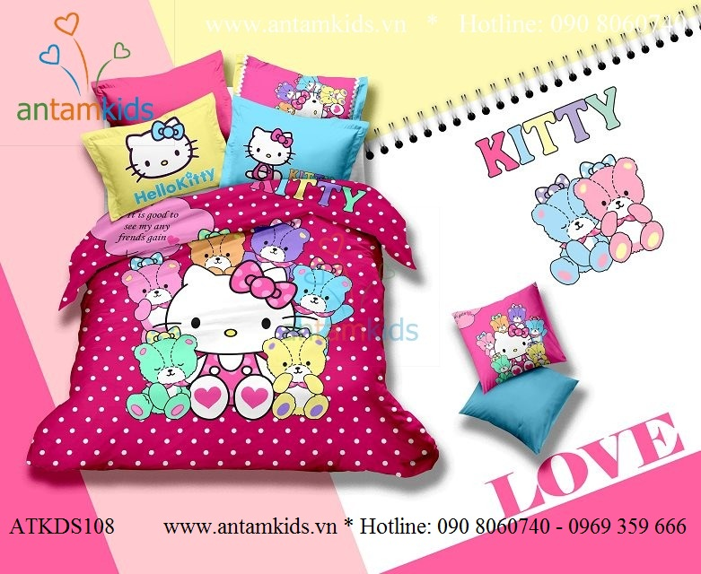 Chăn mền drap Hello Kitty dễ thương, Chan ga goi hoat hinh cho be trai be gai AnTamKids