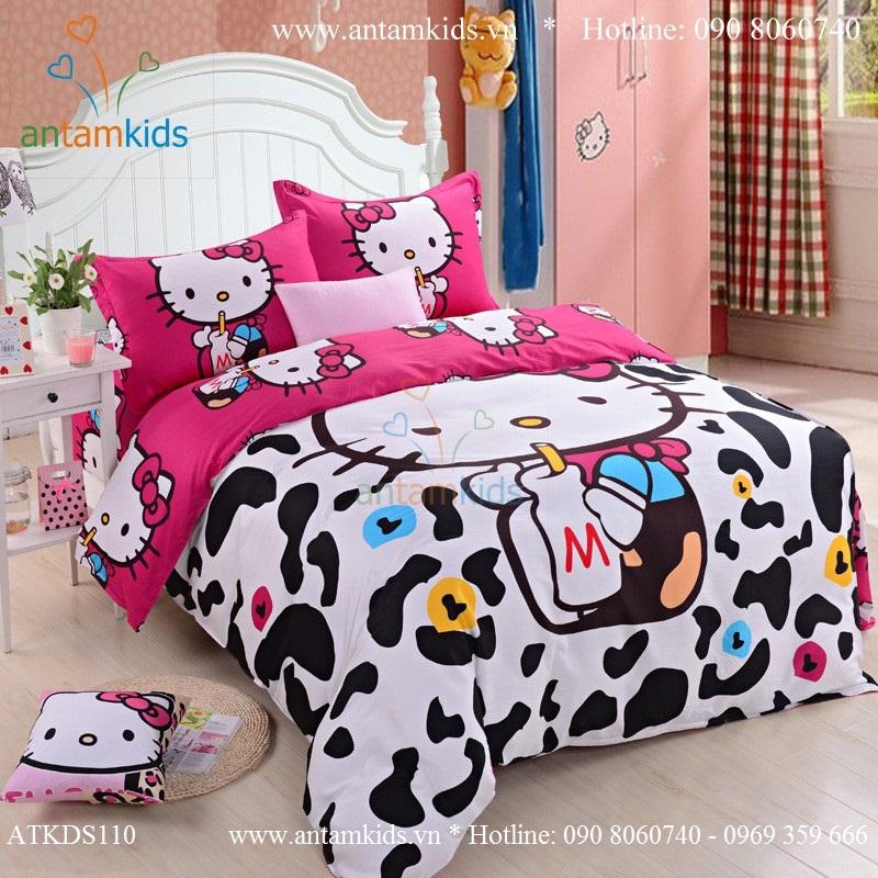 Chăn mền drap Hello Kitty dễ thương, Chan ga goi hoat hinh cho be gai AnTamKids