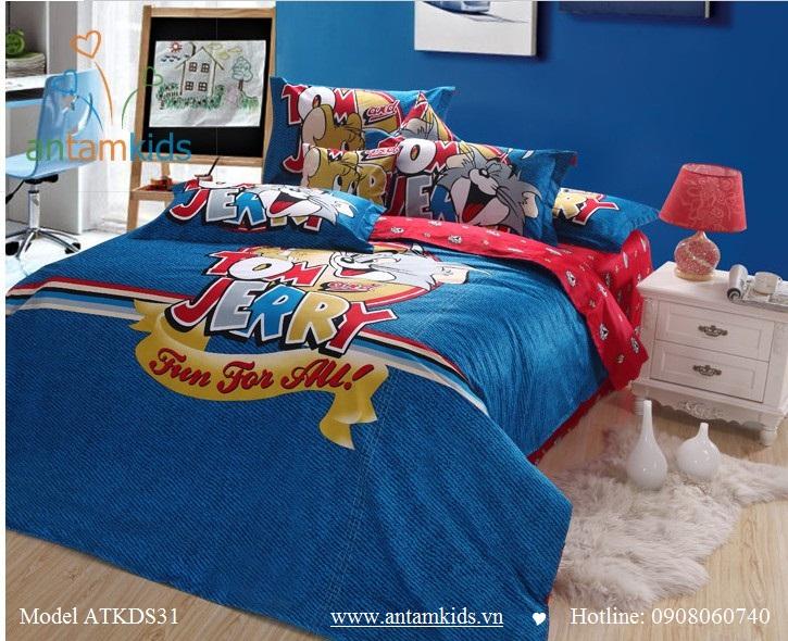 Chăn ga gối hoạt hình, Chăn ga gối trẻ em Tom & Jerry Hà Nội| Noi That Tre Em AnTamKids.vn,Tom & Jerry