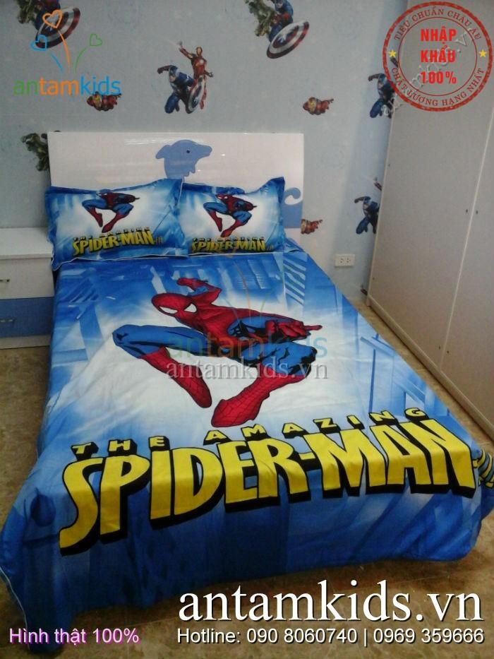 Bộ chăn ga gối Spider Man người nhện cho bé trai - AnTamKids.vn