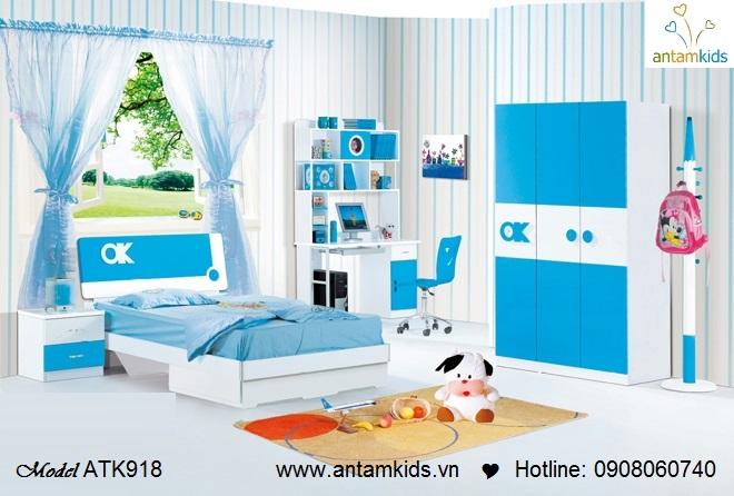 Phòng ngủ cho bé trai màu xanh nước biển tuyệt đẹp   Phòng ngủ trẻ em, giường ngủ trẻ em AnTamKids.vn