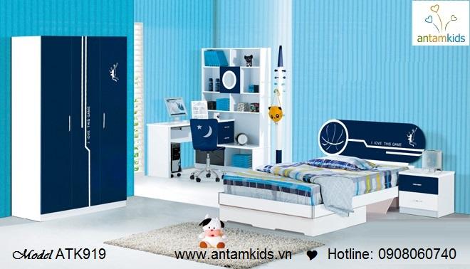 phòng ngủ cho bé trai màu xanh đệm cá tính - Giường ngủ trẻ em AnTamkids.vn