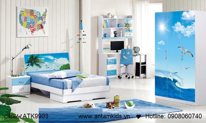 Phòng ngủ trẻ em màu xanh phong cảnh biển tuyệt đẹpi   AnTamKids.vn