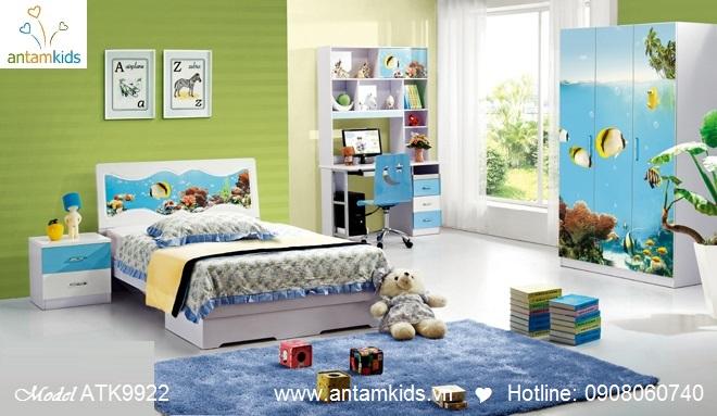 Phòng ngủ trẻ em 3D hoạt hình cho bé trai bé gái hình cá vàng   AnTamKids.vn