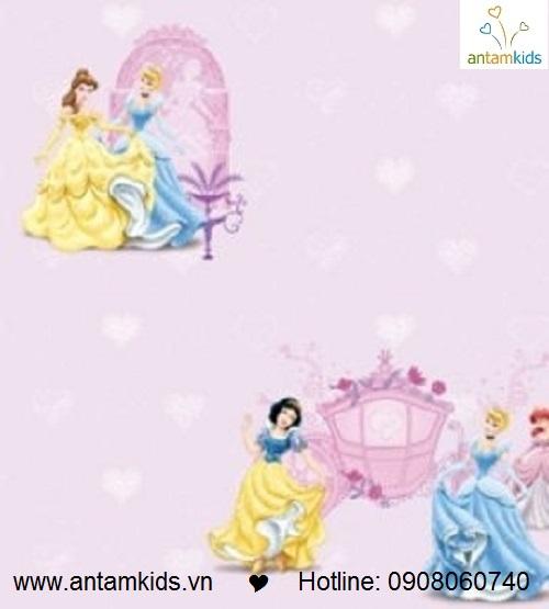 Giấy dán tường công chúa màu tím hồng thật xinh xắn & đáng yêu, phù hợp cho bé gái!