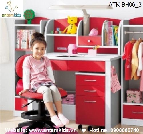 Bàn học trẻ em ATK-BH06 giá tốt nhất cho bé| Noi That Tre Em AnTamKids.vn, màu đỏ xinh đẹp