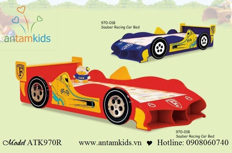 Giường ngủ xe đua ôtô xanh, đỏ ATK970 cho bé trai | AnTamkids.vn