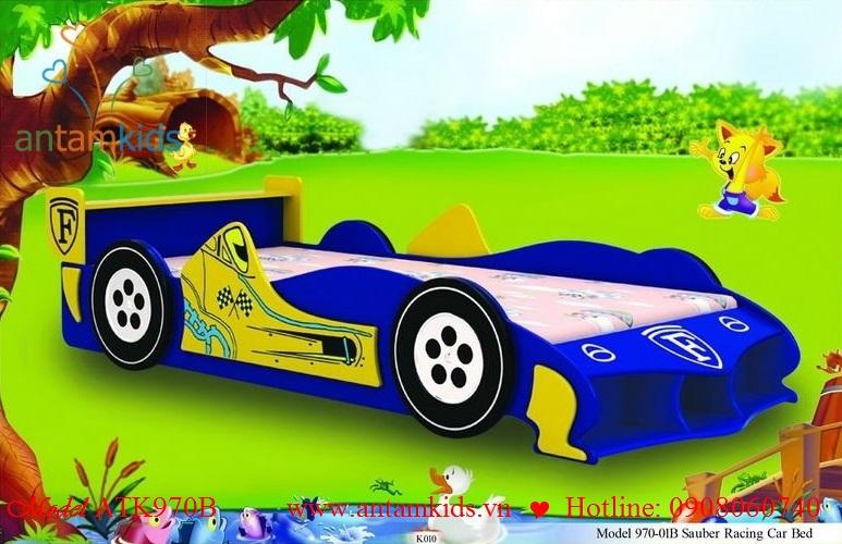 Giường ngủ xe đua ôtô xanh ATK970B cho bé trai, AnTamkids.vn