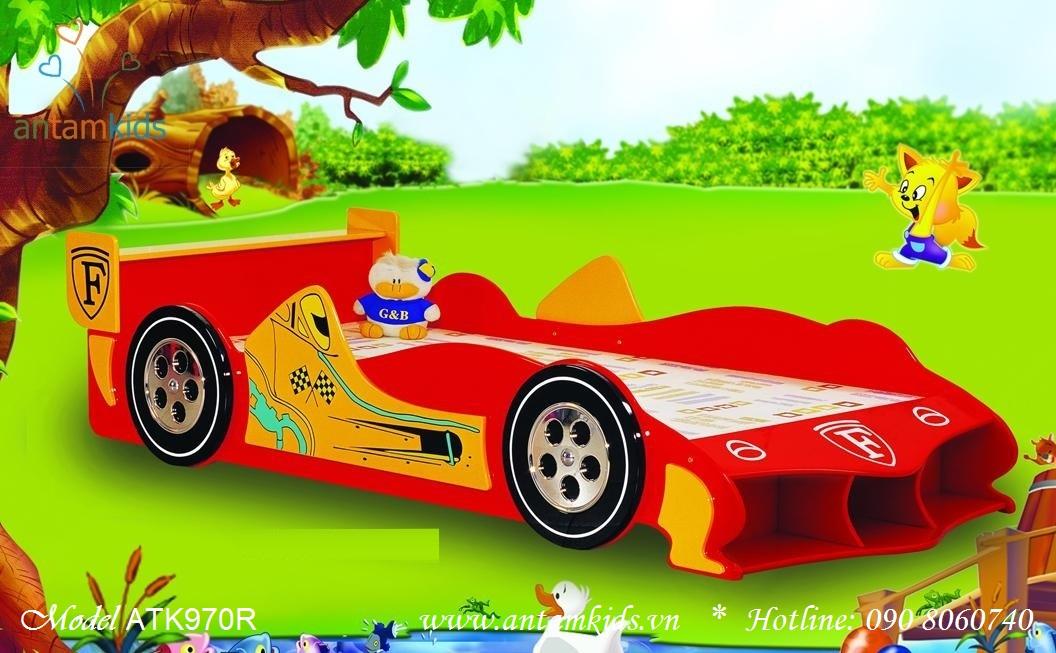 Giường ngủ xe đua ôtô đỏ ATK970R cho bé trai | AnTamkids.vn