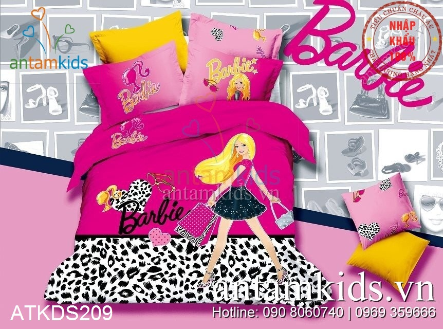 Chăn ga gối drap giường Công chúa Barbie shopping hồng cho bé gái