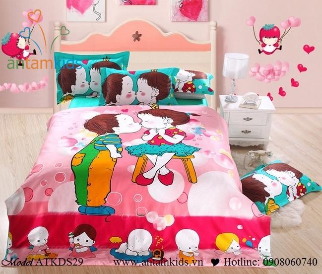 Bộ chăn ga gối ngộ nghĩnh cho bé, 100% cotton lụa nhập khẩu, mẫu mới nhất 2013  | AnTamKids.vn