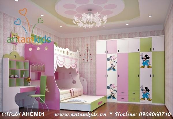 Giường công chúa 3 tầng AHCM01 màu hồng cho bé gái, giuong cong chua mau hong cho be gai - ANTamKids.vn