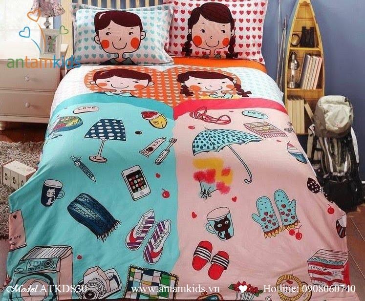 Bộ chăn ga gối ngộ nghĩnh Bebekids cho bé, 100% cotton lụa nhập khẩu, mẫu mới nhất 2013    AnTamKids.vn