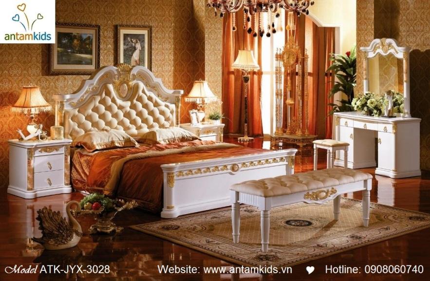 Phòng ngủ cổ điển ATK-JYX-3028 cao cấp tuyệt đẹp, Noi That Co Dien AnTamKids, noi that phong cach co dien phuong tay