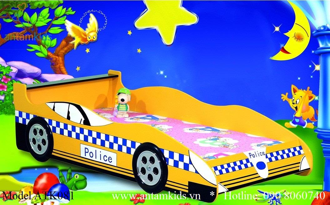 Giường xe ôtô màu vàng ATK081 cực cá tính cho bé trai, chỉ có tại AnTamkids
